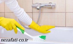 تمیز کردن حمام- شرکت خدماتی و نظافتی آفتاب